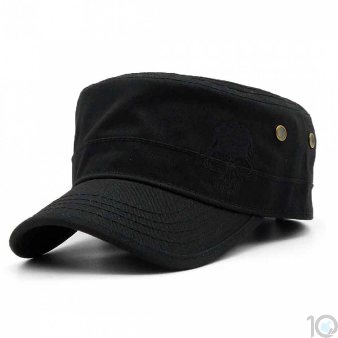 10Dare Baseball Style Outdoor Army Cap with Skull Embroidery | Black | Cap  for Men & Women | Cotton | Outdoor Headgear [HSN 6501