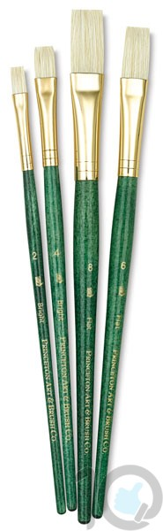 Princeton Real Value - Set Natural - Bristle Bright 2- 4- Flat 6- 8 - Short Handle-9112