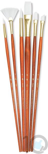Princeton Real Value - Set Synthetic - White Taklon Round 2- 6- Fan 2- Filbert 4- Angular 4- Flat 10 - Long Handle-9156