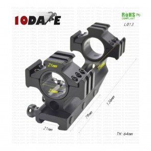 10Dare Twin Ring 25/30 mm Dia Scope 20mm Rail Mount with 6 Additional 21mm Mounts 136mm Length | Weaver Rail Scope Mount L013 | Airgun Mounts & Adapters