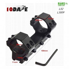 10Dare Twin Ring 30 mm Dia Scope 11mm Rail Mount 100mm Length | Weaver Rail Scope Mount L52 | Airgun Mounts & Adapters