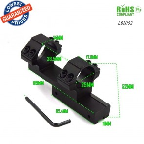 10Dare 25.4mm Rising Twin Ring Scope 11 mm Rail Mount with Two 14mm Top Mounts - LB2002 | Flashlight, Laser, Scope Double Ring Rail Mount | Airgun Mounts & Adapters