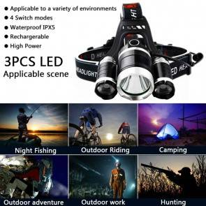 Professional 3 Lamps 12000 Lm Head Lamp | 4 Mode Lights | 2 Batteries 18650 + Charger |  Aluminium Body | Camping Lighting [HSN 8539