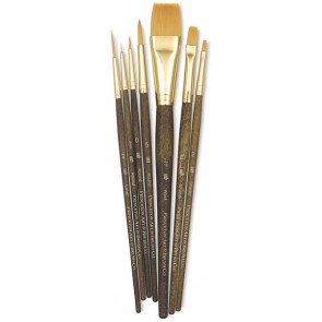 "Princeton Real Value - Set Synthetic - Golden Taklon Round 5/0- 0- 5- Liner 2- Shader 2- 8- Wash 3/4"" - Short Handle-9141"