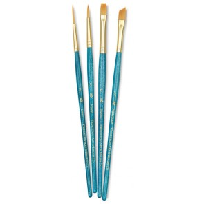 "Buy Online Princeton Real Value - Set Synthetic - Golden Taklon Round 3- Liner 2- Shader 6- Angle Shader 1/4"" - Short Handle-9173 Lowest Price 