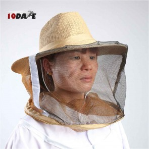 10Dare Professional Bee Keeping Straw Hat with Full Face Mosquito Insect Net | Cowboy Straw Hat | Bee Keeping, Fishing, Outdoor Bug Protection Cap with Netting [HSN 6501