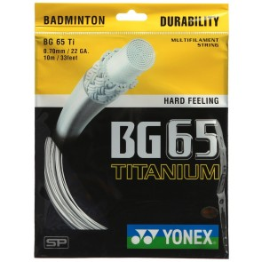 buy Yonex Titanium BG 65 Badminton Strings-0.70mm   White best price 10kya.com