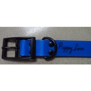 Puppy Love - TPU Coated Nylon Webbing Pet Collars - Fluorescent Blue - Large