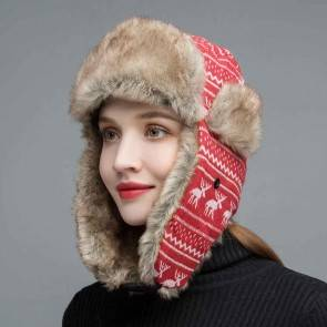 10Dare Russian Ushanka Warm Cap | Red | Plaid Bomber Cap | Warm Cap for Men & Women | Wool+Cotton | Outdoor Headgear [HSN 6501