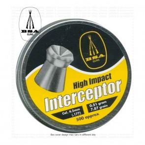 BSA Interceptor Pellets | 0.177 4.5mm | 500 | 10kya Airgun India Store