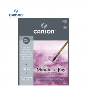 Canson Moulin du Roy - Satin Grain Short Side Glued Pad 300 gsm 30x40.5cm | 10kya.com Art & Craft Supplies