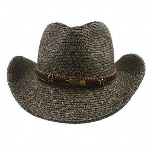 10Dare Cowboy Straw Hat with Native American Motif Badge & Leather Belt | Grey | Stetson Summer & Winter Hats for Men & Women | Tocquilla Straw | Outdoor Headgear [HSN 6501