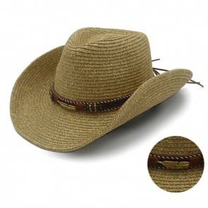 10Dare Cowboy Straw Hat with Native American Motif Badge & Leather Belt | Khaki/Camel/Tan | Stetson Summer & Winter Hats for Men & Women | Tocquilla Straw | Outdoor Headgear [HSN 6501