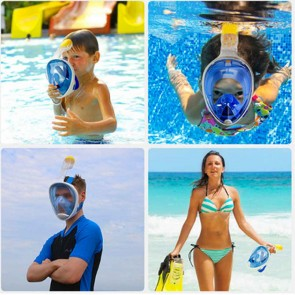 10Dare Diving Snorkelling Full Face Mask with GoPro Mount | Underwater Swimming - Scuba Diving Water-Tight Mask with Breathing Protection | Green
