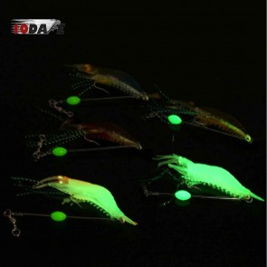 10Dare Fishing Bait - Shrimps Glow In Dark Baits | Yellow Brown | 6g 9cm ABS |  Fishing Lures & Baits [HSN 9507