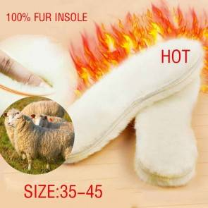Foot Warmer Insoles 1 Pair | White Fur | Real Fur/Sheep Wool | Footwear Shoe Inserts | Winter/Snow/Chill Weather Shoes & Accessories