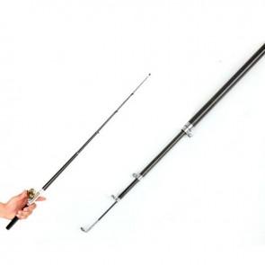 Pen Pocket Fishing Tackle   Black   Telescopic Mini Fishing Pole Aluminium Alloy Fishing Rod With Reel & Wheel   Fishing Rods