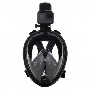 10Dare Diving Snorkelling Full Face Mask with GoPro Mount | Underwater Swimming - Scuba Diving Water-Tight Mask with Breathing Protection | Black