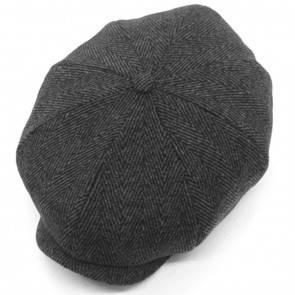 10Dare Irish Newsboy Floppy Cap | C5/6 Grey Herringbone Wool 30 Cap | Med/Large | Vintage Cap for Men & Women | Wool+Viscose | Outdoor Headgear [HSN 6501