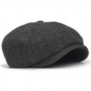 10Dare Irish Newsboy Floppy Cap | C9 Dark Gray Tartan Chequered Tweed 30% Wool Cap | Med/Large | Vintage Cap for Men & Women | Wool+Viscose | Outdoor Headgear [HSN 6501