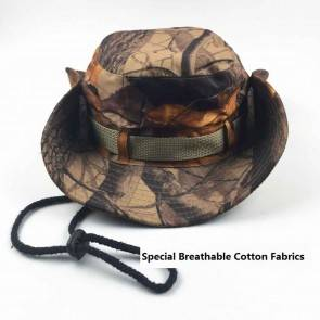 10Dare Camo Boonie Hat | Dry Leaves Autumn Camouflage | 56cm-60cm(Adjustable) Head, 6.5 CM High | Boonie or Army Rangers Hat for Men & Women | Cotton | Outdoor Headgear [HSN 6501