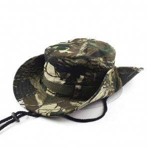10Dare Camo Boonie Hat | Green Leaves Camouflage | 56cm-60cm(Adjustable) Head, 6.5 CM High | Boonie or Army Rangers Hat for Men & Women | Cotton | Outdoor Headgear [HSN 6501