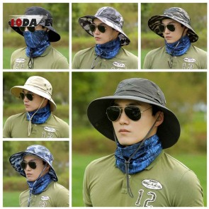 10Dare Jungle Outdoor Wide Brimmed Sun Hats | 54-60 cm Adjustable | Cotton Khaki Light Tan | Outdoor Headgear [HSN 6501