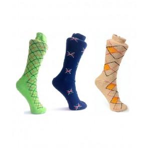 Criss Cross Design Socks - 3 Pairs | kbluecreamgreenpc01