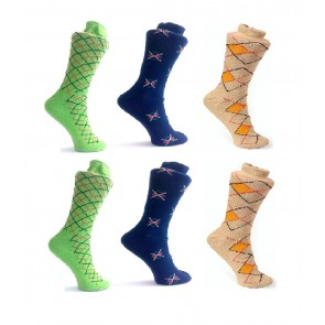 Criss Cross Design Socks - 6 Pairs | kbluecreamgreenpc02