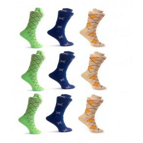 Criss Cross Design Socks - 9 Pairs | kbluecreamgreenpc03