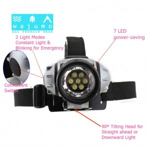 WaJuMo-ATG Headlamp | 7 LED Twin Mode Head Light for Camping, Trekking, Emergencies { HSN 8539