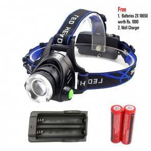 Advance Head Lamp Z30568D | LED XM-L L2 | 2 Batteries 18650 + Charger|  Aluminium Body | Zoom Headlight | Camping Lighting [HSN 8539