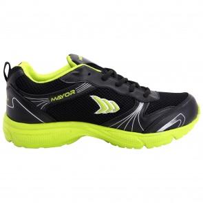 Mayor Black-Lime Green Panther Running Shoe-MRS9000