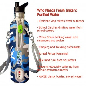 PureOne Personal U.V Water Purifier (UV+MF) - Camouflage | UV Water Filter Bottles for Outdoor Adventure | Safe Water Outdoors  [ HSN 84212190