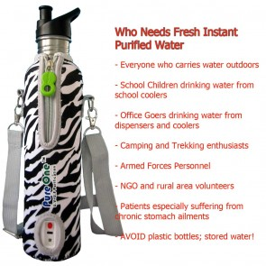PureOne Personal U.V Water Purifier (UV+MF) -Zebra | Portable Outdoor UV Water Filter Bottles | Safe Water Outdoors  [ HSN 84212190