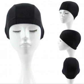 10Dare Swimming Cap | Nylon+Spandex Stretch Fabric | Full Ears Cover | Size M-L | Black
