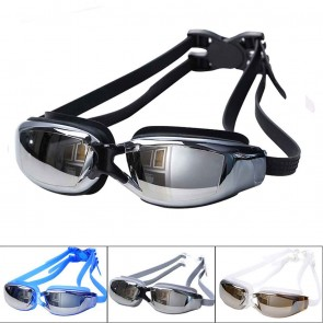 10Dare Swimming Goggles | Electroplated Mirror Finish Glasses | UV Protection for Eyes | Blue Stem + Dark Blue Glasses