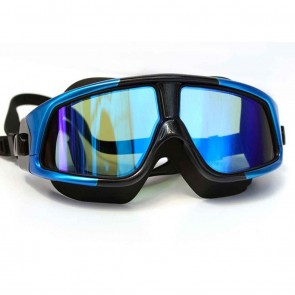 10Dare Pro Swimming Goggles Large Polarised | Anti Fog/UV Electroplated Mirror Finish Glasses | UV Protection for Eyes | Black Frame, Blue Trims