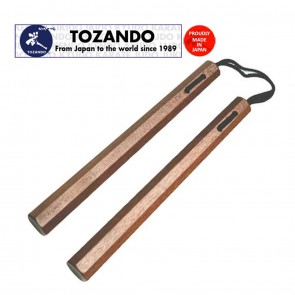 Tozando Akagashi Nunchaku with Cotton Braid | Handle 36cm | Red Oak Nunchuck | Hand Made In Japan | Martial Arts Gear [ HSN 95069990