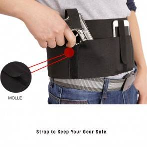 10Dare Waist Holster Stretchable for Air Pistols, Mobile Phones | Under/Over Shirt | Pistol Pouch & Bags | Black N [HSN 4202