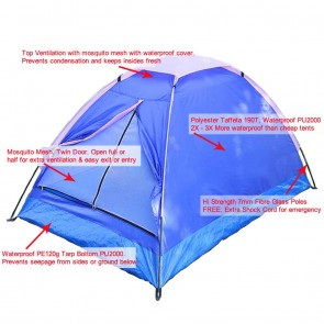 WAJUMO-ATG Basic Tent | 2 Person Waterproof Tent | Camping Dome Tents [ HSN 63062200