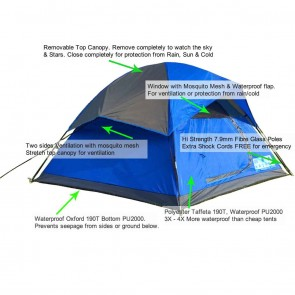 WAJUMO-ATG StarDome 6 Tent Blue | 4-6 Person Waterproof Tent | Camping Dome Tents [ HSN 63062200