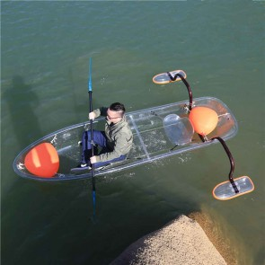 Wajumo-ATG Transparent Kayak with Stabilising Bars | Polycarbonate Boat | 2 Person Kayak with Oars | EGR1511B