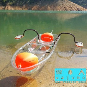 Wajumo-ATG Transparent Kayak with Stabilising Bars | Polycarbonate Boat | 2 Person Kayak with Oars