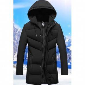 Upto -30º C Winter Parka Jacket With Vacuum Lock Thermal Filling | with Hood | Black | Light Weight Wind Proof | Outdoor Use Outer Layer | Stylish Polyester/Cotton Winter Wear [ HSN 62